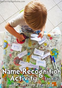 Learn with Play at Home: Name Recognition Activity with Cutting Practice for kids