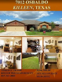 Flyer for a home listed to sale in beautiful Spanish oaks community In Killeen, Tx