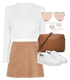 """""""Outfit with a suede skirt and white sneakers"""" by ferned on Polyvore featuring See by Chloé, MICHAEL Michael Kors, Free People and Alexander McQueen"""