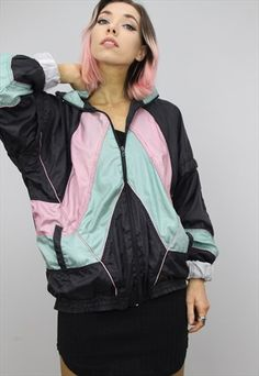 Vintage+80s/90s+Oversized+Colourful+Shell+Windbreaker+Jacket