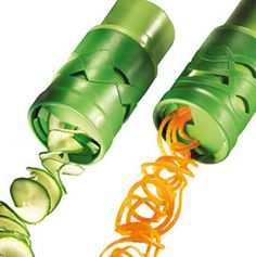 Veggie twister that cuts potatoes, carrots, apples, whatever, into spirals, spaghetti strands, etc. Neat!
