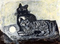 """""""Two Cats, One striped one black"""" by Olle Olsson-Hagalund"""