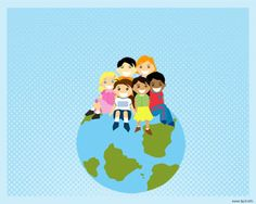 Psychology Kids PowerPoint template background for presentations with kids and globe