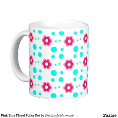 Pink Blue Floral Polka Dot Coffee Mug