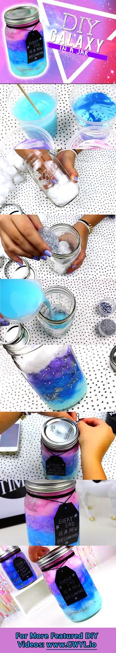 DIY Galaxy in a jar diy craft crafts diy crafts do it yourself diy projects diy and crafts Cute Crafts, Crafts To Do, Craft Projects, Crafts For Kids, Arts And Crafts, Kids Diy, Craft Kids, Craft Tutorials, Project Ideas
