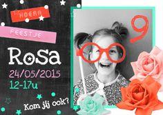 Super hippe uitnodiging voor het feestje van een meisje. Te vinden op: https://www.kaartje2go.nl/uitnodigingen