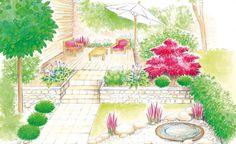 Ein Garten – zwei Ideen: Ein kleiner Innenhof in der Stadt bekommt einen zweiten Sitzplatz. Im Asia-Stil gestaltet oder als freundliches Freiluftzimmer. (Pflanzplan als PDF zum Herunterladen und Ausdrucken)