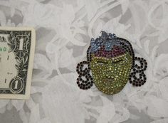 Handcrafted Unique Vintage Rhinestone Mask Pin by JuveloVintage