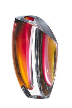 Mirage vase grey/red, design by Göran Wärff for Kosta Boda