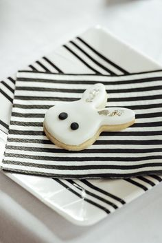 """Bunny Cookie from a Monochrome """"Some-Bunny is One"""" Birthday Party on Kara's Party Ideas 