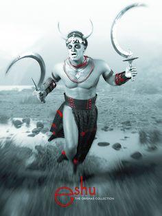 Eshu, by Danilo Lejardi (Colombia) mixing symbols from Haiti (death), Brazil (sickles) and Africa (horns). Yoruba Orishas, African Mythology, Yoruba Religion, Man And Dog, Shadowrun, Gods And Goddesses, Deities, Black Art, Axe