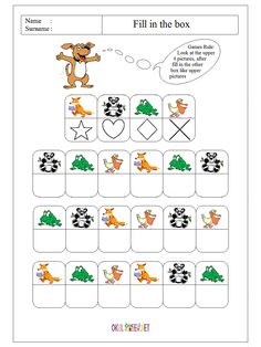 fill-in-the-box-worksheet-workpage-for-pre-school-children-17 Occupational Therapy Activities, Montessori Activities, Preschool Math, Fun Math, Book Activities, Visual Perception Activities, Math Patterns, Creative Activities For Kids, Coding For Kids