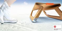 The plywood sledge design concept 'Bendit' is a sustainable 'snow rider' combining fluid forms with cutting-edge use of materials. Its main look is defined through sheets of bent plywood. The physical. Snow Sled, Christmas Wood Crafts, Luge, Wood Toys, Plywood, 21st Century, Woodworking Projects, Baby Strollers, Bending