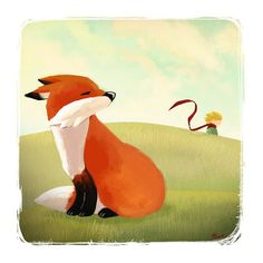 """""""The fox and the little prince"""" Graphic/Illustration by Viviane Fujita buy now as poster, art print and greeting card.."""