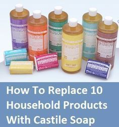 How to replace products with Castile Soap.Did you know it comes from the region of Castile in Espana? Natural Living Ideas on FB. Homemade Cleaning Products, Natural Cleaning Products, Household Products, Natural Products, Household Items, Natural Cleaning Recipes, Diy Cleaners, Cleaners Homemade, Household Cleaners