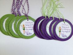 Tinkerbell Custom Birthday Party Thank you Gift Tags