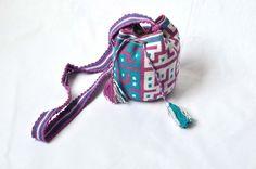 WAYUU BAG – Mini Mochila. Handwoven by a woman from the Wayuu Tribe. Purple & Precolumbians. www.colombiart.co