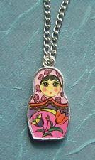 "1pc Russian babushka Doll Enamel pink Charm Pendant silver plated necklace 20""-"