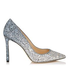 hochzeitsschuhe jimmy choo ROMY Romy 100 Pointy Toe Pumps in Silver and Dusk Blue Fireball Glitter Dgrad Fabric. Discover our Cruise 18 Collection and shop the latest trends today. Lace Pumps, Satin Pumps, Women's Pumps, Pump Shoes, Flats, Sandals, Jimmy Choo Romy, Jimmy Choo Shoes, Prom Shoes Silver
