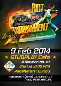 PES (Pro Evolution Soccer) 2013 Tournament 9 Februari 2014 At Studplay Cafe, Jl. Bawean no. 42, Surabaya 18.00 till drop  http://eventsurabaya.net/pes-pro-evolution-soccer-2013-tournament/