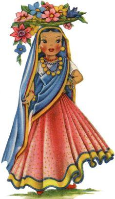Retro India Doll Image - The Graphics Fairy