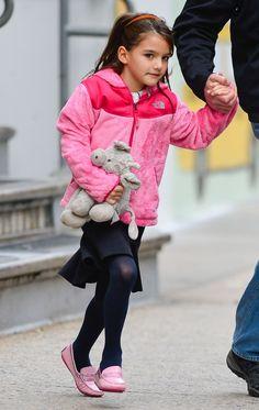 Suri Cruise walking to school in her #venettini #loafers.