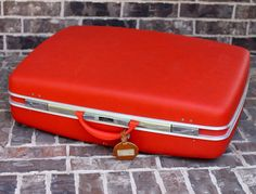 "Large 27"" Boyle by Airway Orange Suitcase ~ Bright Orange Hard Shell Luggage ~ Excellent Condition on Etsy, $85.00"