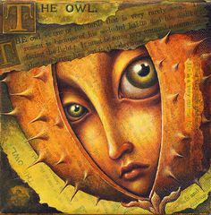 Shy face art print, Secluded Habits: Big eyed face in thorny shell with owl text collage. Pop surrealism fantasy portrait, introvert art