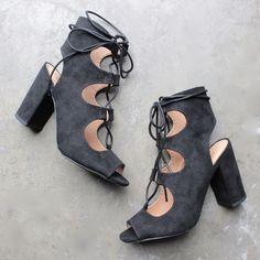 suede lace-up booties - black - shophearts - 1