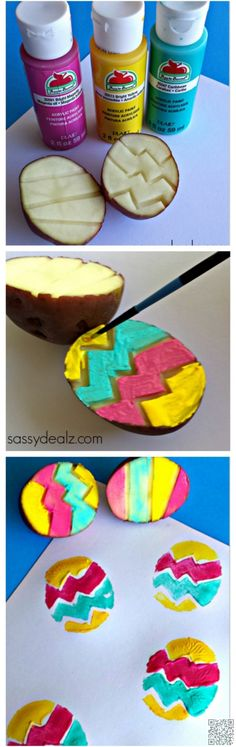 27. #Potato Easter Egg #Stamping - 35 Easter #Crafts You Need to Make This Year ... → DIY #Mason