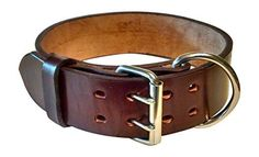 "Pitbull & Big Large Breeds Dog Collar - Real Leather - Pet Training (Mahogany, 2"" Width Fits 20-23"" Neck) - http://www.thepuppy.org/pitbull-big-large-breeds-dog-collar-real-leather-pet-training-mahogany-2-width-fits-20-23-neck/"