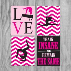 Girls Gymnastics Art, Cute Personalized Gymnastics Gifts and Gymnastics Wall Art- silhouette-pink and black, train insane from gymnasticsgifts on Etsy. Gymnastics Quotes, Gymnastics Gifts, Gymnastics Stuff, Cheerleader Quotes, Gymnastics Team, Gymnastics Bedroom, Baile Jazz, All About Gymnastics, Train Insane Or Remain The Same