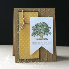 handmade card from RunningwScissorsStamper: Lovely as a Tree ... three element card ... earth colors ... arrows textured panel ... block of patterned paper ... oak tree and sentiment on wide fishtail banner as focal point ... a wrap and know of twine ... great card! ... Stampin'Up!