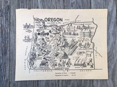 Oregon Map Vintage Map / Coloring Book Page #vintage #map #wallart #gift #oregon