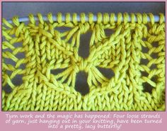 I LOVE the honeybee lace I used for the Nachtfalter top - but the written instructions can look a little intimidating. They're so long and there's all this dropping of yarn overs and this nasty fif...