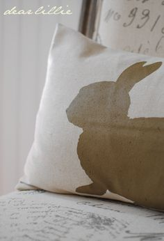 """Love the Bunny Silhouette Pillow!!!!  Great Blog """"Dear Lillie"""""""