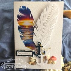 Create a unique handmade sunset Feather card,  Complete with Envelope, from downloadable SVG FIle.  The  cards measures about 5.5x8