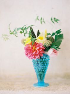 aqua and pink centerpiece | I have this blue hobnail vase of my grandmother's