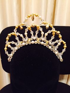 ballet tiara with cream or white clear and gold by kyliestiaras