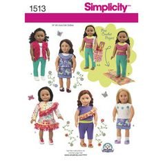 Simplicity Pattern 1513 18  Doll Clothes and Bag