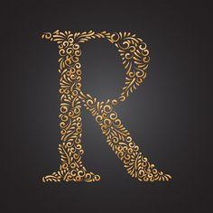 زهري ذهبي مزخرف حرف ص Logo Design Branding Typography Letter R Lettering