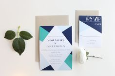 Modern Geometric Wedding Invitations Navy by MemoryLanePaperie