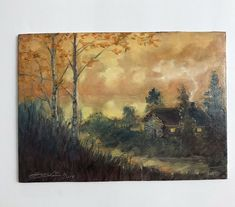 Original oil painting sunset cabin landscape realism art listed by artist USA #Realism
