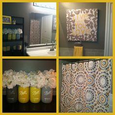 Cute grey and yellow bathroom