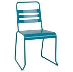 These teal metal desk chairs could be repurposed for the cafe