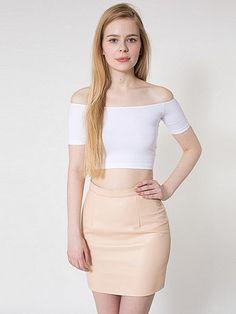 Nude Leather Mini Skirt