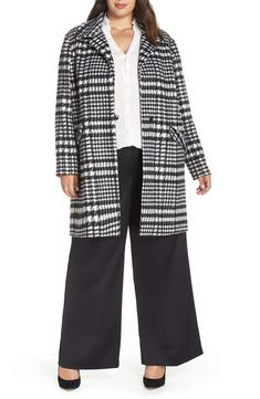 20de44a270a Sejour Brushed Houndstooth Coat - Plus Size Plus Size Outerwear