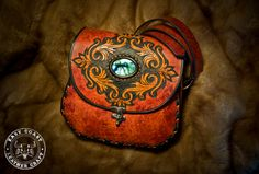 Victorian Style Tooled Leather Purse with by EastCoastLeather