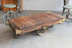 Vintage Industrial Antique Wood Railroad Baggage Cart/ Coffee Table W/ Cast  Iron Wheels