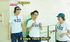 Ji suk Jin out = race start. Running Man Funny, Running Man Song, Running Man Korea, Ji Hyo Running Man, Korean Variety Shows, Korean Shows, Running Man Members, Monday Couple, Ji Suk Jin